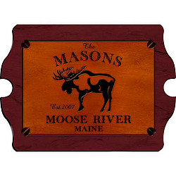 Personalized Vintage Cabin Pub Sign with Moose Design