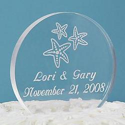Beach Wedding Acrylic Round Cake Topper