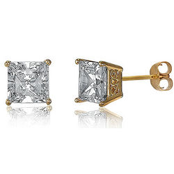 14K Gold Over Silver Vermeil Prong Set Princess CZ Earrings