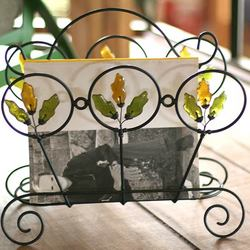 'Copper Revival' Iron and Recycled Glass Magazine Rack