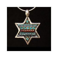 Multi-Color Teal Star of David Necklace