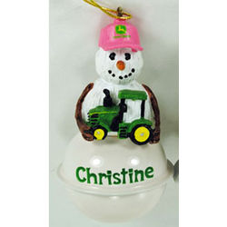 John Deere Snow Bell Christmas Ornament with Girl's Name