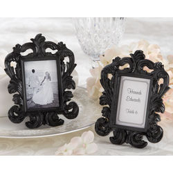 """Black Baroque"" Elegant Place Card Holder/Photo Frame Favor"