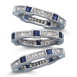 Simulated Sapphire Stackable Ring Set