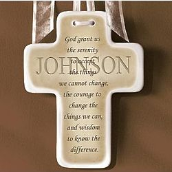 Personalized Serenity Prayer Ceramic Wall Cross