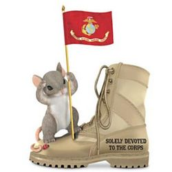 Charming Tails USMC Camo Boot Figurine