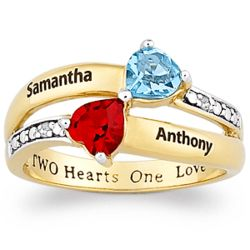 Couple's Kissing Hearts Birthstone Ring with Diamonds