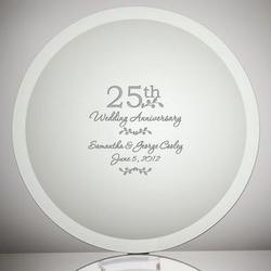 Etched Glass 25th Wedding Anniversary Plate