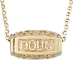 18K Gold Over Sterling Family Barrel Necklace