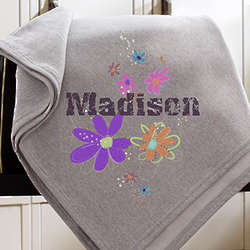 Flower Power Personalized Sweatshirt Blanket