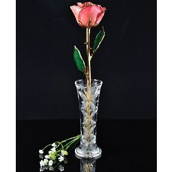 24 Karat Gold Trimmed Pink Rose with Crystal Vase