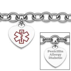 Stainless Steel Medical Alert Engraved Heart Charm Bracelet