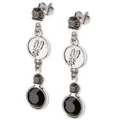 Crystal Earrings with San Antonio Spurs Logo Charm