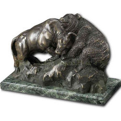 Wall Street Bull & Bear Fighting Statue