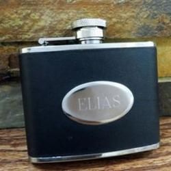 Engraved Stainless Steel and Black Leather Flask