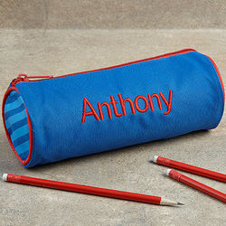 Kid's Personalized Blue Pencil Case