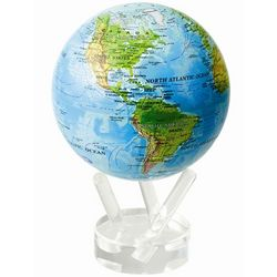 Rotating Blue Globe with Relief Map