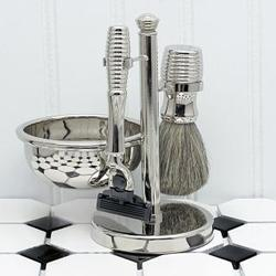 Timeless Stainless Steel Shaving Kit with Lathering Bowl