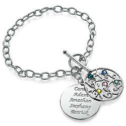 Personalized Filigree Tree of Life Bracelet with Birthstones