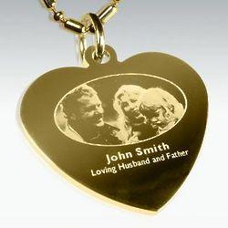 Custom Photo Engraved Gold Heart Pendant