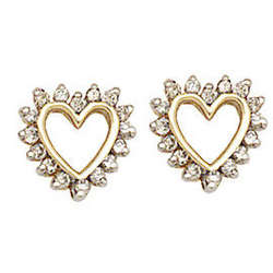 Simple Diamond Heart Earrings