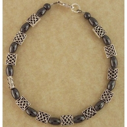 Hematite Celtic Knot Bracelet with Pillow Beads