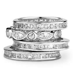 Sterling Silver Cubic Zirconia Channel Stackable Ring Set