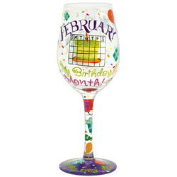 February Birthday Month Wine Glass