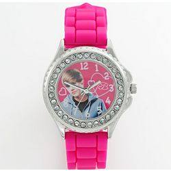 Justin Bieber Silver Tone Simulated Crystal Watch