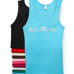 Just Married Crystal Tank Top