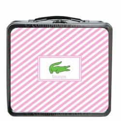 Pink Crocodile Stripe Design Lunch Box