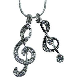 Rhinestone Double Treble Clef Necklace