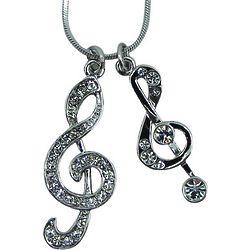 Rhinestone Double Treble Clef Necklace