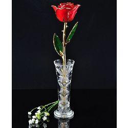 24 Karat Gold Trimmed Red Rose with Crystal Vase