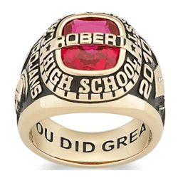 Men's Yellow Celebrium Personalized Traditional Class Ring