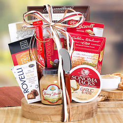 Savory Snacks Gift Basket on Wood Tray