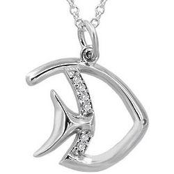 Sterling Silver Fish Diamond Pendant