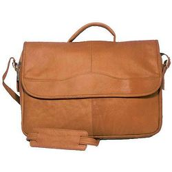 Vaquetta Leather Porthole Tan Briefcase