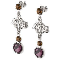 Crystal Earrings with LA Lakers Logo Charm