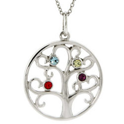 4 Birthstone Sparkling Crystal Family Tree Pendant
