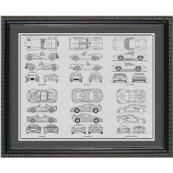 Lotus Blueprint Collection Framed Print