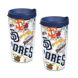 2 San Diego Padres All Over 16 Oz. Tervis Tumblers with Lids
