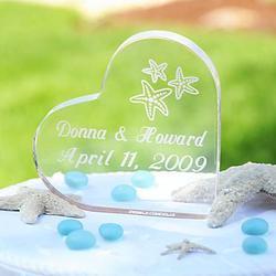 Beach Wedding Acrylic Heart Cake Topper