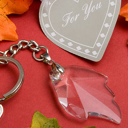 Crystal Glass Leaf Charm Key Chain