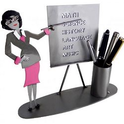 Female Teacher Recycled Metal Pen Holder