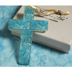 Murano Art Deco Blue Glass Cross