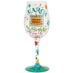 March Birthday Month Wine Glass