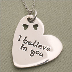 I Believe In You Silver Pendant