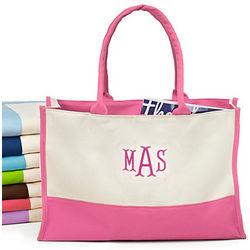 Monogram Color Block Canvas Tote Bag