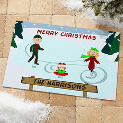 Ice Skating Family Character Personalized Standard Doormat